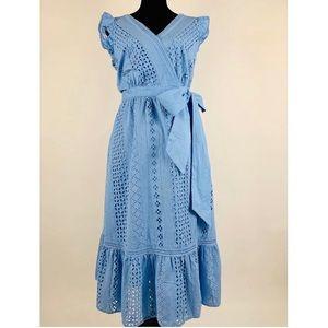 J.CREW Midi Wrap Dress In Allover Eyelet Ruffle 8